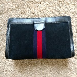 Authentic Blue Suede Vintage Gucci Clutch Handbag